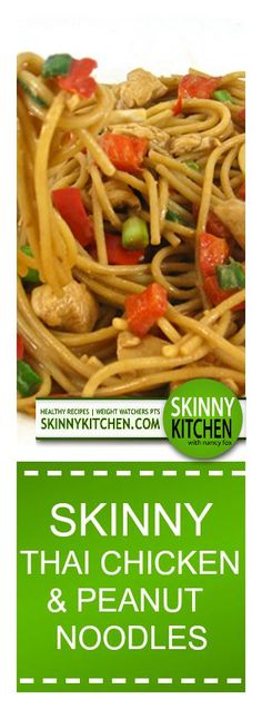 Skinny Thai Chicken and Peanut Noodles. Here's an absolutely delicious dinner! Each serving has 290 calories, 8g fat & 7 Weight Watchers POINTS PLUS. http://www.skinnykitchen.com/recipes/skinny-thai-chicken-and-peanut-noodles/