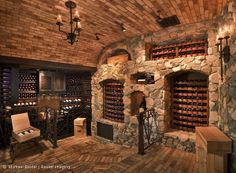 Now this is a wine cellar! I could live with this, couldn't you? Wowzeeee:) I personally don't need a wine cellar, but would love this as a basement living room with a fireplace! Caves, Bar Deco, Wine Cellar Basement, Home Wine Cellars, Wine Cellar Design, Mountain Living, In Vino Veritas, Tasting Room, Deco Design