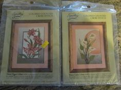 COUNTED CROSS STITCH KIT, SET OF TWO, SOMETHING SPECIAL TIGER & CALLA LILIES #CandamarDesigns #FLOWERS.  eBay item number:131615764756