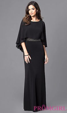 Long Formal Caplet Gown with Embellished Waist at PromGirl.com