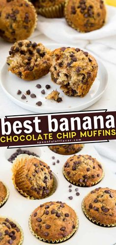 Learn how to make the Best Banana Chocolate Chip Muffins! A few basic ingredients are all you need to have this classic recipe ready in less than 30 minutes. Make a batch of these moist, tasty treats and enjoy for breakfast or an on-the-go snack! Pin this for later! Healthy Banana Recipes, Easy Delicious Recipes, Easy Recipes, Delicious Desserts, Snack Recipes, Tasty, Yummy Food, Easy Family Meals, Family Recipes
