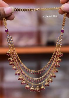 Gorgeous one gram gold long haaram with multi layer beads chains. 13 September - Gorgeous one gram gold long haaram with multi layer beads chains. Gold Jhumka Earrings, Indian Jewelry Earrings, Gold Jewellery Design, Bead Jewellery, Bridal Jewellery, Handmade Jewellery, Gold Jewelry Simple, Ear Chain, Short Neck