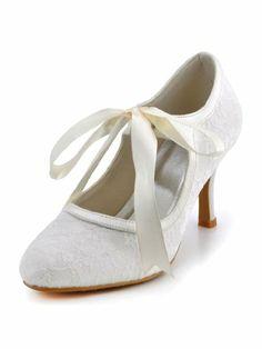 9e0c23565e695 Elegantpark A3039 Women s Ivory Round Toe Ribbon Stiletto Heel Lace Wedding  Shoes US 9 Elegantpark
