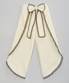 Another great find on #zulily! Ivory & Black Bow Palazzo Pants - Infant, Toddler & Girls #zulilyfinds