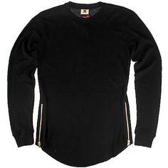 PJ Mark Long Sleeve Thermal Mens T569-BK Black Gold Side Zip Shirt Top Size M