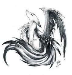Awesome Drawing Of A Winged Wolf