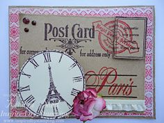 Paris Postcard by jksand - Cards and Paper Crafts at Splitcoaststampers Everything I Own, Travel Cards, Vintage Paris, Greeting Cards Handmade, Vintage Postcards, Mini Albums, Scrapbook Pages, Paper Crafts, Prints