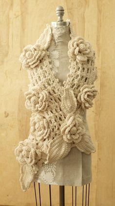 Irish Lace Scarf: Free Crochet Patterns with Lion's Brand Crochet Flower Scarf, Crochet Scarves, Crochet Shawl, Irish Crochet, Crochet Clothes, Crochet Flowers, Hand Crochet, Crocheted Scarf, Floral Scarf