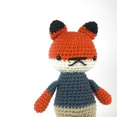 plush fox boy toy animal stuffed plushie navy blue .. by rosieok, $35.00