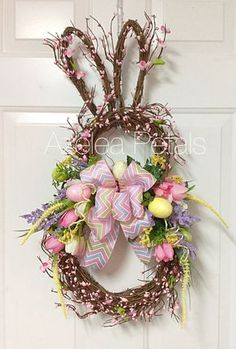 Last One! Grapevine Berry Rabbit Wreath, Bunny Easter Spring Wreath, Ribbon…