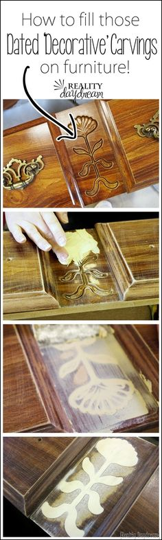 How to use wood putty to fill those decorative carvings on dated furniture so you can PAINT! {Reality Daydream}