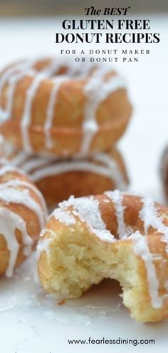 Here are some of the best gluten free donut recipes. Gluten free donuts, gluten free dairy free donuts, and paleo donuts. Many donuts are also nut free! Gluten free baked donuts are much healthier than fried doughnuts. Gluten Free Doughnuts, Gluten Free Sweets, Gluten Free Vegan Donut Recipe, Paleo Donut, Lactose Free Yogurt Recipe, Gluten And Dairy Free Desserts Easy, Dairy Free Lemon Cake, Easy Desserts, Best Gluten Free Cookies