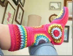 Hexagon Slipper Boots Pattern...free pattern with her instructions on how she changed it up...love these