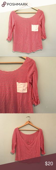 UO boat neck top Red and cream striped top. Scooped back. Dainty pocket on the front. 3/4 cuffed sleeves. Urban Outfitters Tops
