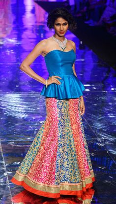 India Bridal Fashion Week: Jyotsna Tiwari multicolored paneled bright lehnga with blue peplum strapless blouse Indian Attire, Indian Ethnic Wear, Indian Style, India Fashion, Asian Fashion, Women's Fashion, Fashion Trends, Indian Dresses, Indian Outfits