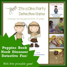 Poppins Book Nook Dinosaur Detective Fun (with free printable games!)