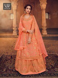 Rs4,900.00 Blouse Lehenga, Long Choli Lehenga, Lehenga Suit, Lehenga Style, Net Lehenga, Bridal Lehenga Choli, Sharara Suit, Anarkali Dress, Orange Lehenga