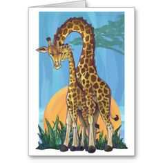 Giraffe Mama and Baby Happy Mother's Day Card by Imagine That! Design. Art by Traci Van Wagoner. Inside is a customizable message, Happy Mother's Day. #mom #mother #mum #animals