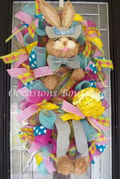 Easter Door Swag, Easter Wreaths, Easter Bunny Door Hanger, Easter Decoration, Spring Wreaths, Double Door Wreaths, Ready to Ship by OccasionsBoutique on Etsy