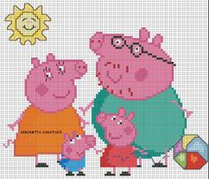 Peppa Pig X-stitch Cross Stitch For Kids, Cross Stitch Baby, Cross Stitch Charts, Cross Stitch Designs, Cross Stitch Embroidery, Cross Stitch Patterns, Jumper Knitting Pattern, Knitting Patterns Free, Baby Knitting