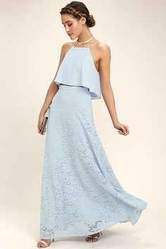 Lulus Exclusive! The second you see the Love at First Sight Light Blue Lace Two-Piece Maxi Dress, you'll know it was meant to be! Woven poly shapes a wide-cut, crop top, with skinny straps, that pairs perfectly with a matching high-waisted, lace maxi skirt (with a bit of elastic at back). Hidden side zipper/clasp.