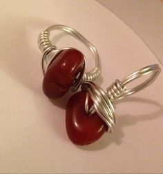 Red Agate Silver Wire Wrapped Ring Any Size by SoSheDidShop