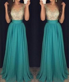Beautiful gold sequins green chiffon prom dress , ball gown 2016