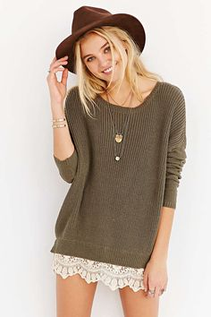 Pins And Needles Lace-(small) Trim Sweater - Urban Outfitters