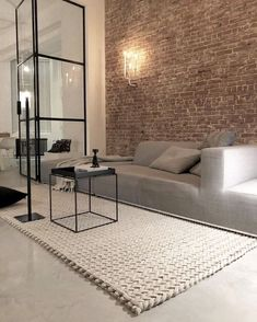 luxury home accents Want one small section of wall in living room to have brick accent wall like so. Can use thin brick tiles. Luxury Home Decor, Cheap Home Decor, Luxury Homes, Home Living Room, Living Room Designs, Living Room Decor, Home Interior Design, Interior Architecture, Home Remodeling