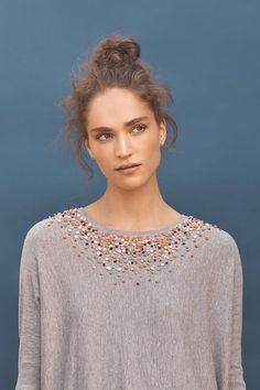 DIY on a thrift store tee/sweater with embroidery yarn/knots.   Knotted Confetti Pullover | Anthropologie