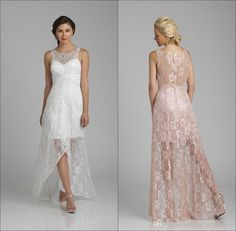 High Low Lace Mother Of The Bride Dresses 2016 Beaded Jewel Neck Sleeveless Short Front Long Back A Line Wedding Fashion Women Dress