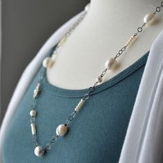White freshwater pearl wire wrapped necklace, June Birthstone