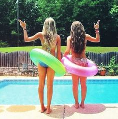 beautiful, best friends, besties, bffs, bikini, blonde, brown, fun, girls, girly, hair, pool, pretty, summer, claraastyle
