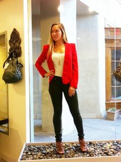 Our surfer client Jamie Evans loves her outfit so much she wanted everyone to see. Super cute fitted red blazer with hunter green waxed skinnys from Hudson.