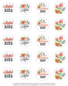Valentine's day cupcake toppers, bag toppers and cards