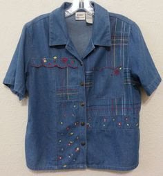 Koret - Women's Top/Blouse Size Medium Short Sleeve Shirt Blue & Multi-color Trim  #Koret #Blouse #Casual  ..... Visit all of our online locations ..... (www.stores.eBay.com/variety-on-a-budget) ..... (www.amazon.com/shops/Variety-on-a-Budget) ..... (www.etsy.com/shop/VarietyonaBudget) ..... (www.bonanza.com/booths/VarietyonaBudget ) .....(www.facebook.com/VarietyonaBudgetOnlineShopping)