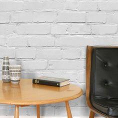 stilvoller Vintage Hauch mit Backstein Tapete in Weiß