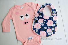 Baby Girl Pig Bodysuit and Bib Set, Little Piggy Piggies, Flying Pig Chenille Bib Size 0 3 Months 3m Ready to Ship Baby Shower Gift