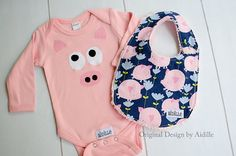Baby Girl Pig Bodysuit and Bib Set, Little Piggy Piggies, Flying Pig Chenille Bib Size 0 3 Months 3m Ready to Ship Baby Shower Gift