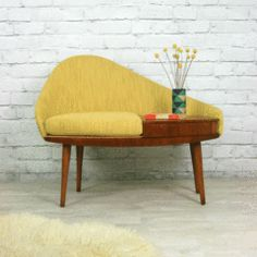 Vintage 1960s Telephone Seat - Mustard Vintage