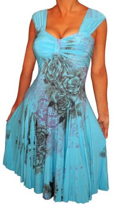 FUNFASH SUBLIMATION BLUE ROSE EMPIRE WAIST COCKTAIL DRESS