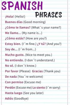 Useful Spanish Phrases, Spanish Help, Spanish Notes, Learn To Speak Spanish, Study Spanish, Spanish Grammar, Spanish Vocabulary, Learn English Words, Spanish To English