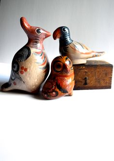 Vintage Mexican Pottery Tonala Style Instant Collection Birds Set of Three by AtomicHawks on Etsy