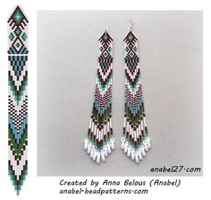 Beaded earrings scheme - mosaic weaving
