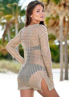 10d787f094e1 beach cover up Brand New Summer Women Sexy Mesh Knitted Crochet Swimsuit  Dress Bikini Wrap Bathing Suit Cover Ups