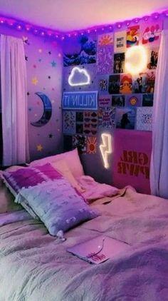 Neon Bedroom, Room Ideas Bedroom, Budget Bedroom, Bedroom Inspo, Bed Room, Bedroom Wall, Ideas For Bedrooms, Dorm Room Ideas For Girls, Cool Rooms For Teenagers