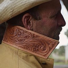Custom tooled leather jacket collar-SR