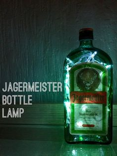 Jagermeister bottle lamp 70cl  This lamp has been up-cycled by myself.  Makes a…