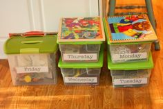 Room time / Independent play ideas - one bin per day!