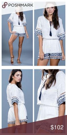 Pre-Order🎉Ark & Co Romper Linen embroidered romper with tassel tie. Excellent quality. Price firm. Ark & Co Dresses